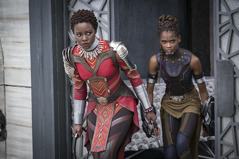 Image of Nakia (Lupita Nyong'o) & Shuri (Letitia Wright).