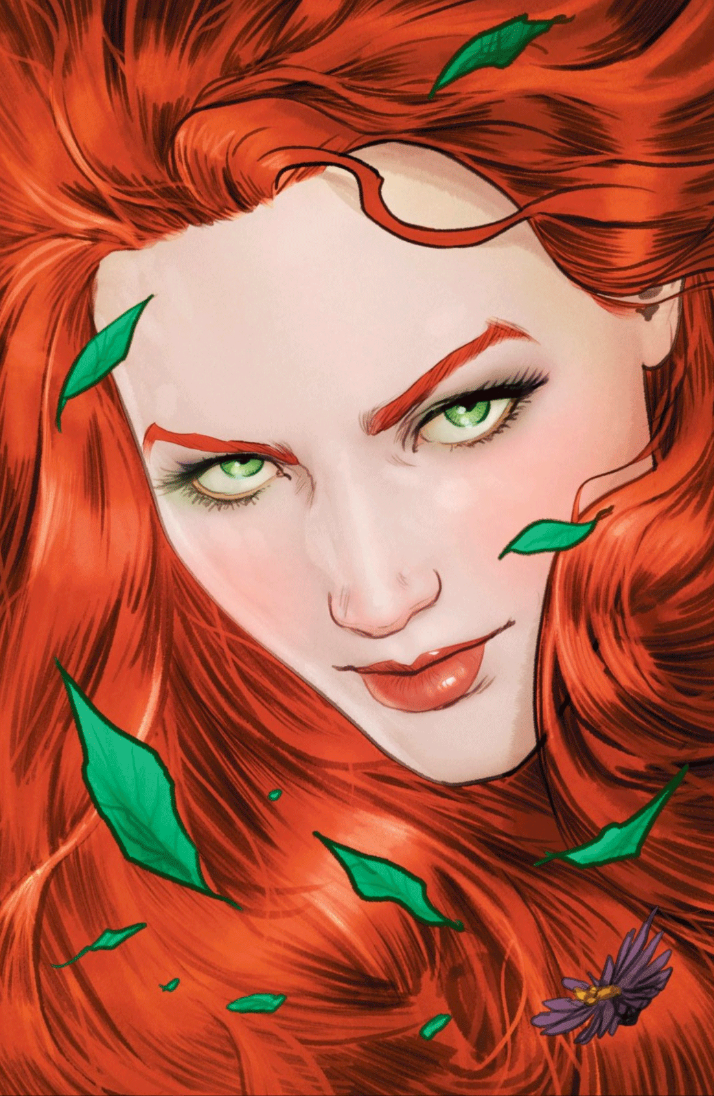 Full page art of Poison Ivy: red fiery hair, windswept.
