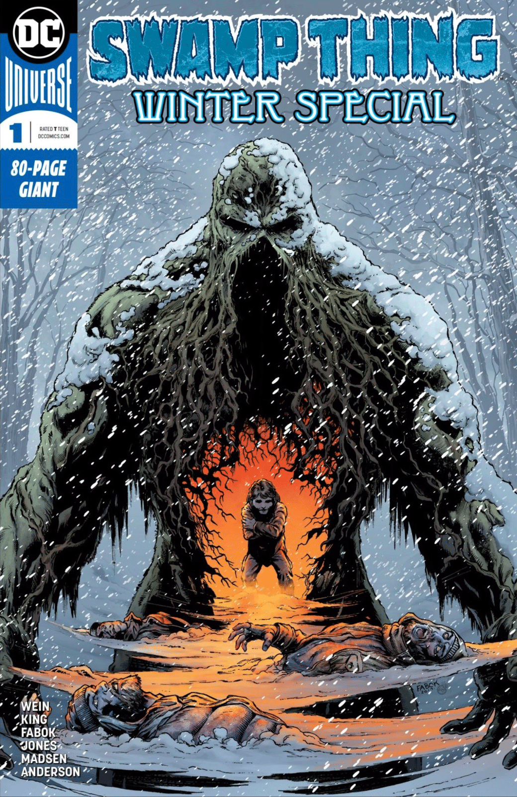Swamp Thing Winter Special cover. Swamp Thing in the snow. A child is pictured in his centre, huddling to warm itself.