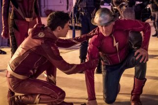 The Flash steadies an exhausted Jay Garrick