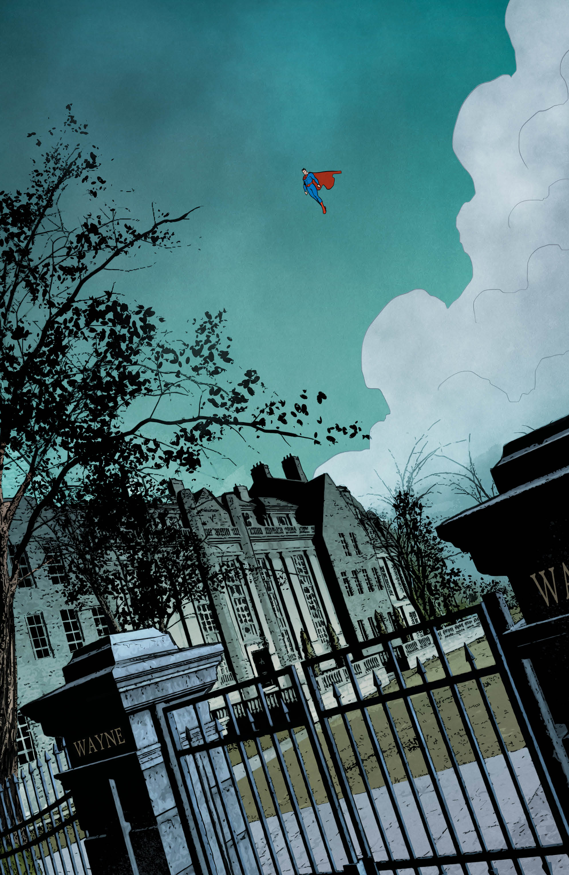 Superman patrols Wayne Manor grounds from the sky