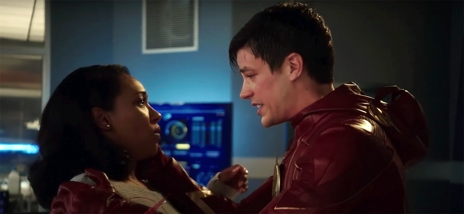 A frantic Barry holds Iris.