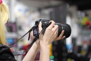 Videographer Peyton DeSanta lining up a shot.